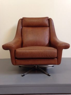 1970's Leather Swivel Chair