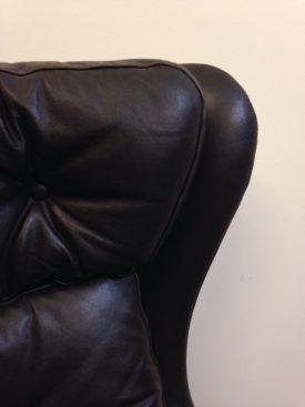 Danish leather swivel armchair