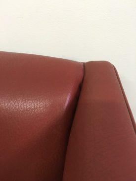 High back ox blood sofa