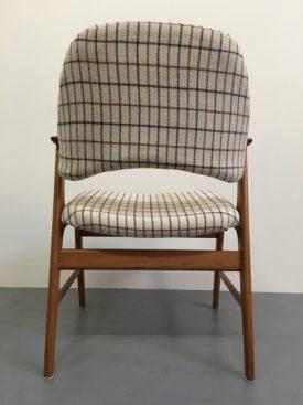 Danish teak and plaid arm chair