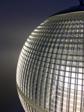 Giant Holophane glass pendants