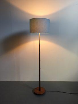 Teak and brass standard lamp