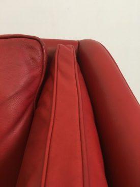 Danish red leather sofa