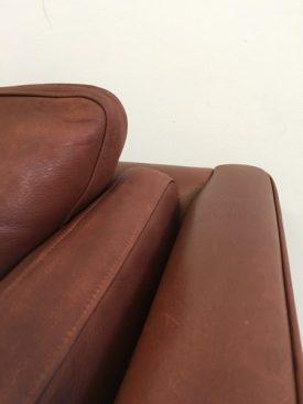Danish umber leather sofa