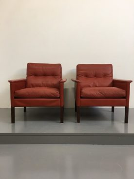 Danish red leather armchairs