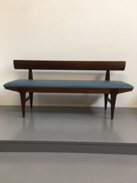 Teak and Leather Bench