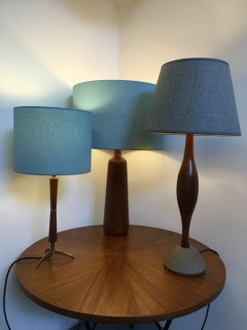 Teak and Stone Table Lamp