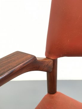Rosewood and leather Armchair