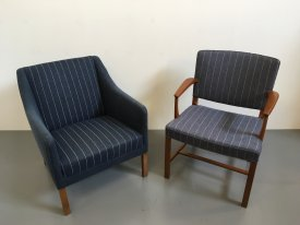 Blue Pinstriped Upright Armchair
