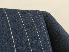 Blue Pinstriped Lounge Chair