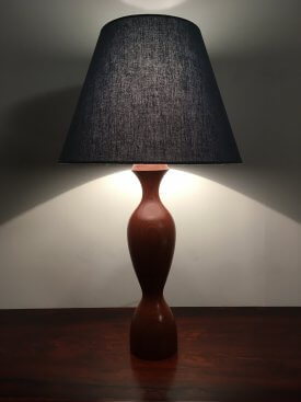 Teak Hourglass Table Lamp