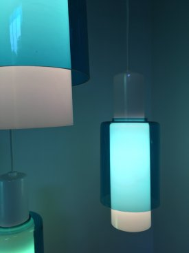Louis Poulsen Opaline and Blue Glass Pendants