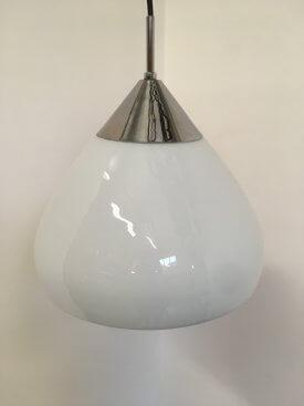 Danish Opaline and Chrome Pendant