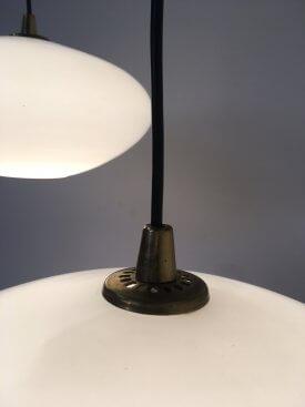 Danish Opaline & Brass Pendants