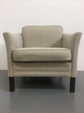 Danish Striped Beige Armchair