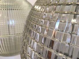 French Holophane Ball Pendants