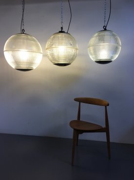French Holophane Ball Pendants