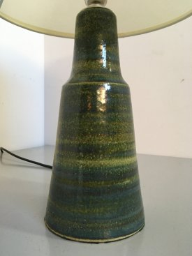 Danish Green Glazed Table Lamp