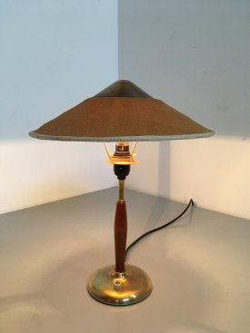 Danish Hessian, Teak & Brass Table Lamp