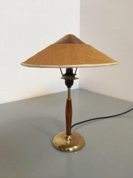 Danish Hessian, Teak & Brass Table Lamp
