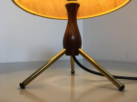 Rosewood & Brass Tripod Table Lamp