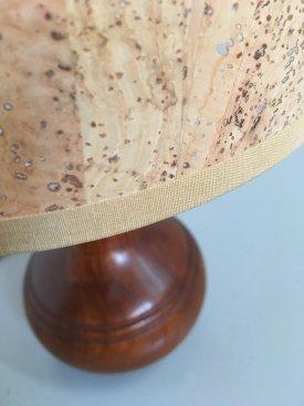 Turned Teak & Cork Table Lamp