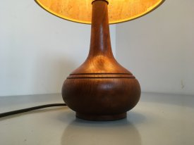 Turned Teak & Cork Table Lamp