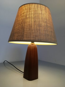 Teak & Hessian Bottle Lamp