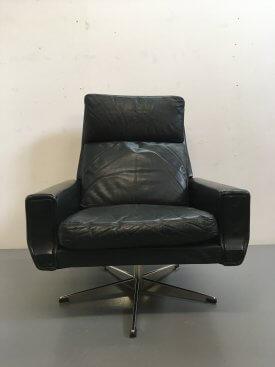 Danish Leather Swivel Chair