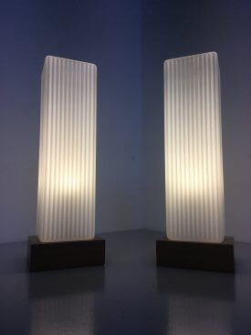 Pair of French Tower Opaline Lamps