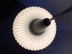 Fluted Opaline & Teak Pendant