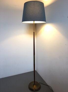 Tapering Teak & Brass Standard Lamp