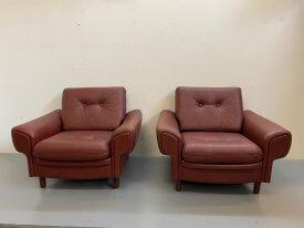 Danish Burgundy Leather Armchairs