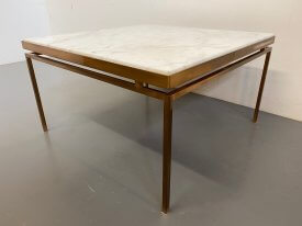 1970's Marble & Brass Coffee Table