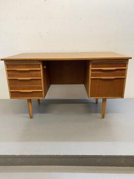 1960's British Teak Twin Pedestal Desk