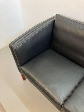 Danish Black Leather 2 seat sofa