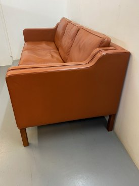 Stouby Cognac Leather 3 Seat Sofa